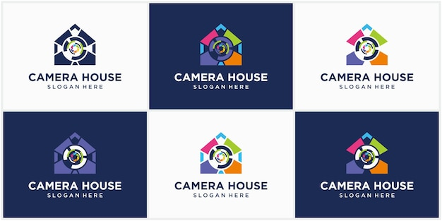 Fotografia tecnologia câmera casa logotipo logotipo ícone vetor modelo fotografia logotipo design