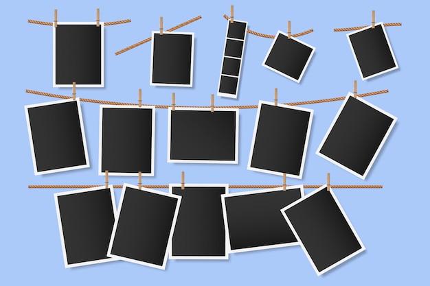 Fotografias em prendedores de roupa. instantâneos de suspensão na corda, modelo vazio do álbum de recortes da fotografia do vintage, fotos do álbum do álbum de recortes, ilustração das memórias de foto. imagens em branco no varal
