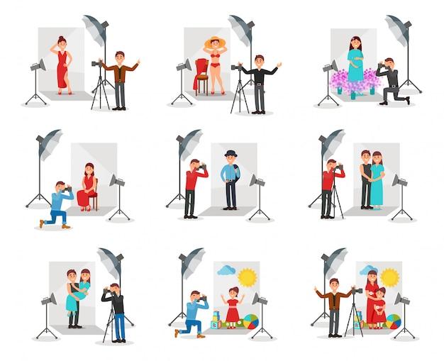 Fotógrafo com câmera fotografando conjunto de pessoas, sessão de fotos em estúdio ilustrações