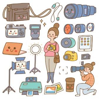Fotógrafo com equipamentos kawaii doodle