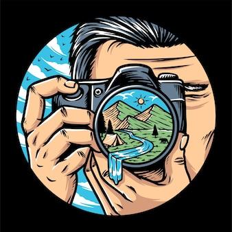 Fotógrafo de homem com câmera tirando foto de ilustração de montanhas