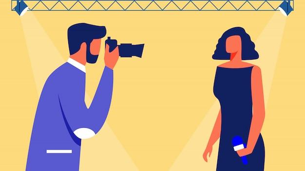 Fotógrafo faz foto mulher no palco. vetor.