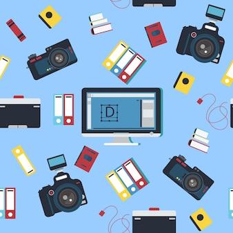 Fotógrafo ferramentas padrão sem emenda com câmera e computador