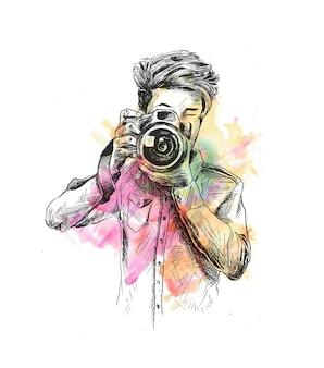 Fotógrafo masculino com câmera