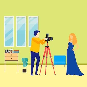 Fotógrafo masculino com ilustração de modelo feminino