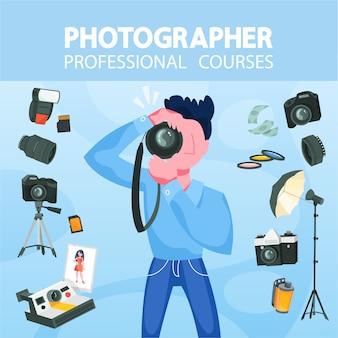 Fotógrafo profissional com câmera. conceito de ocupação artística