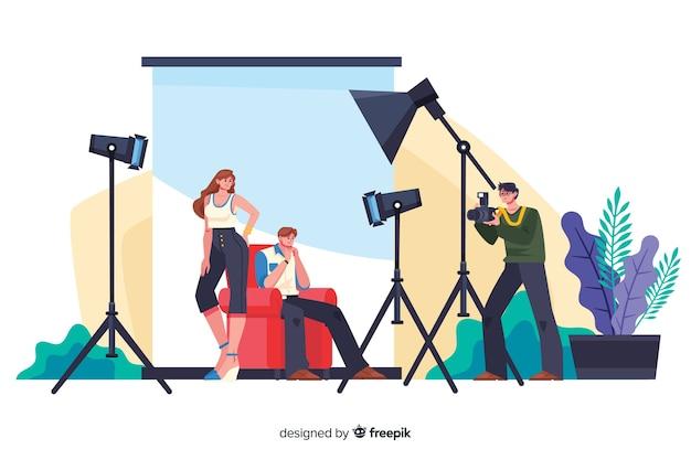 Fotógrafo profissional de desenho animado trabalhando