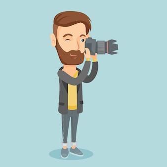 Fotógrafo tirando foto ilustração vetorial.