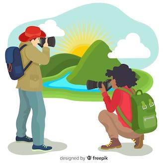 Fotógrafos de design plano tirando fotos na natureza