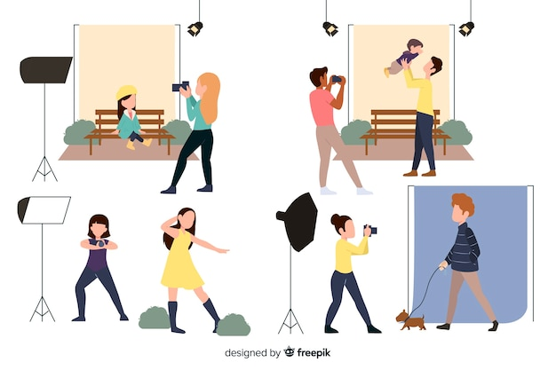Fotógrafos design plano tirando fotos de pessoas