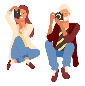 Fotógrafos profissionais tiro, câmera