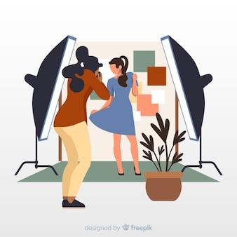 Fotógrafos que trabalham cocnept para ilustração