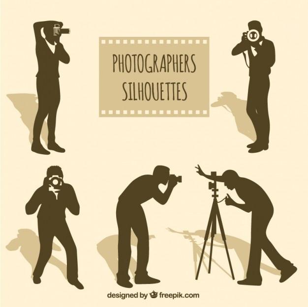 Fotógrafos silhuetas em diferentes situações