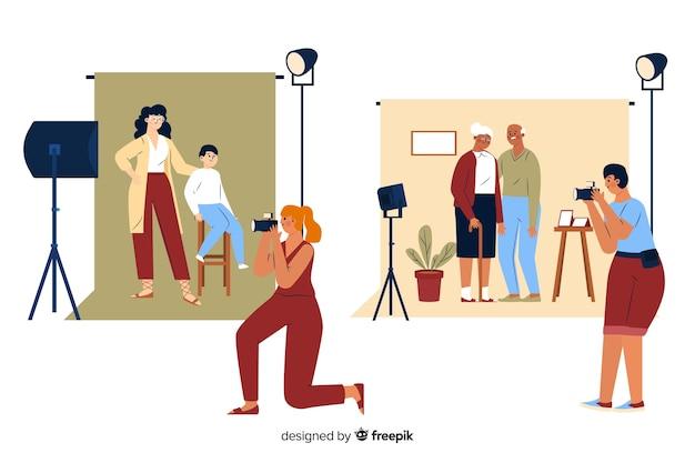 Fotógrafos tirando fotos de pessoas