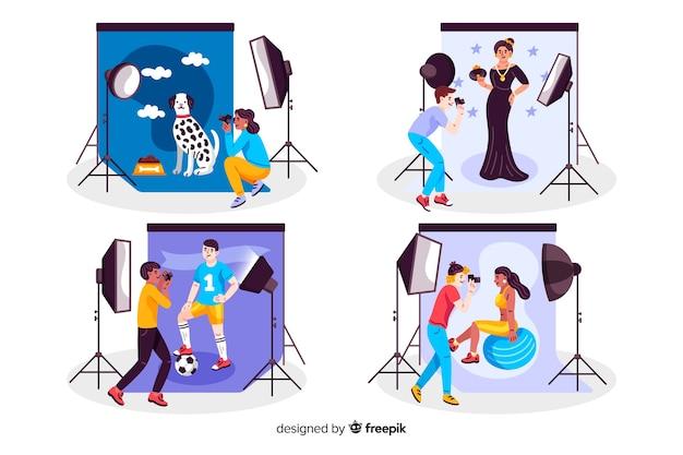 Fotógrafos trabalhando em conjunto de estúdios