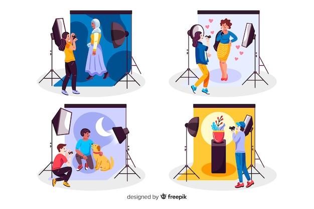 Fotógrafos trabalhando em estúdios