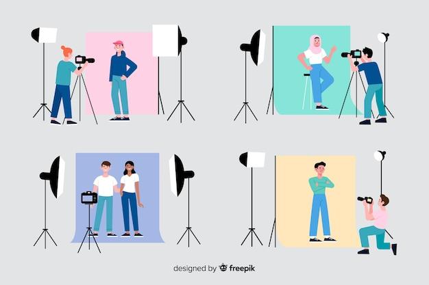 Fotógrafos trabalhando em sua coleção de estúdio