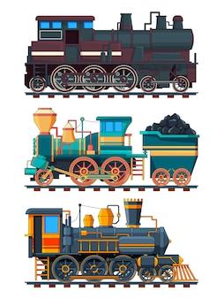 Fotos coloridas dos desenhos animados de trens retrô