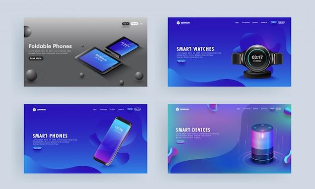 Fotos da página de destino ou heróis definidas com gadgets como smartphone, assistente de voz, tablets e relógio inteligente em resumo