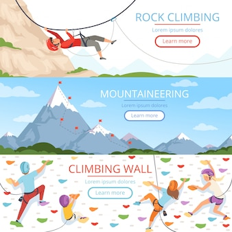 Fotos de alpinismo. corda mosquetão capacete rockie hills pessoas esporte radical vetor banners modelo com lugar para texto