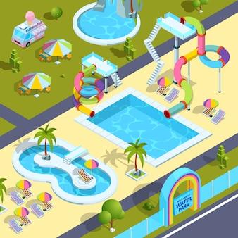 Fotos de atrações ao ar livre no parque aquático.