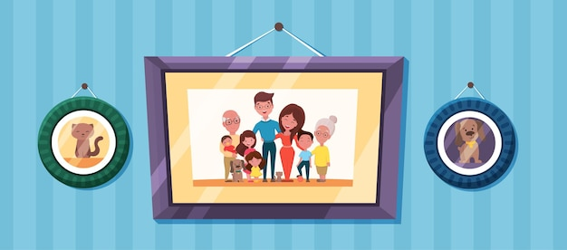 Fotos de família com retrato de pais e filhos em molduras. fotos de memória com avós