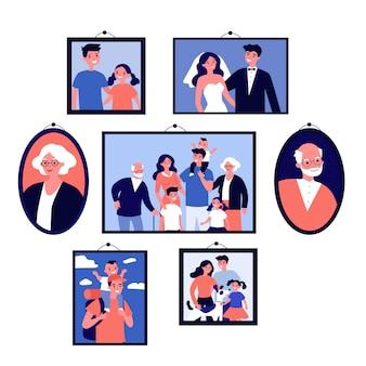 Fotos de família feliz em quadros na parede