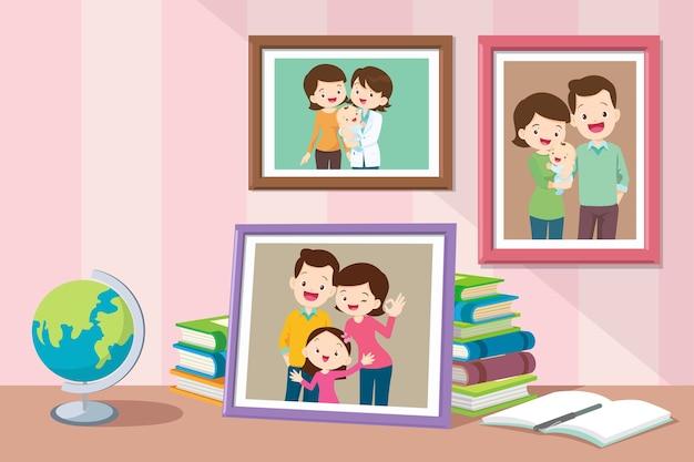 Fotos de filhas de bebês crescendo com os pais.