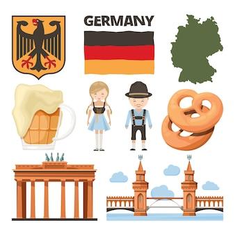 Fotos de viagens. conjunto de objetos tradicionais e culturais da alemanha