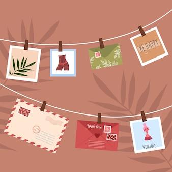 Fotos e cartões pendurados em uma corda