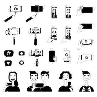 Fotos em preto de pessoas fazendo selfie e várias ferramentas para auto-foto
