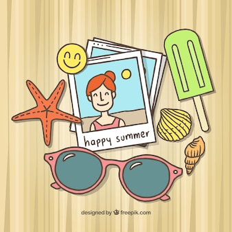 Fotos fundo e mão desenhada elementos de verão