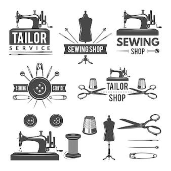 Fotos monocromáticas vintage e rótulos para alfaiataria. logotipos para produção têxtil