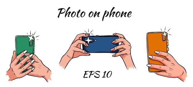 Fotos no telefone. telefone na mão. ilustração do estilo cartoon