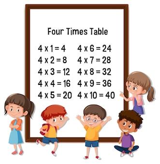 Four times table com o personagem de desenho animado de muitas crianças