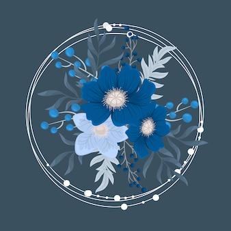 Fower page pensioners - vermelho, azul claro, flores brancas