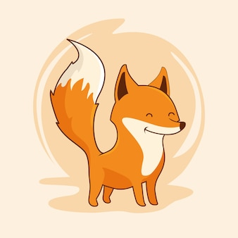 Fox animal bonito dos desenhos animados kawaii