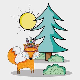 Fox animal tribal com pinheiros e arbustos