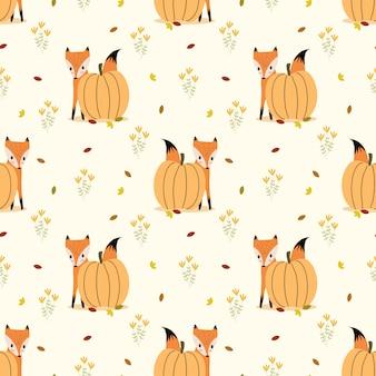 Fox bonito e abóbora sem costura padrão vector.