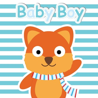 Fox bonito em desenhos animados de vetor de fundo listrado azul, cartão de banho de bebê, papel de parede e cartão de saudação, design de t-shirt para ilustração vetorial infantil