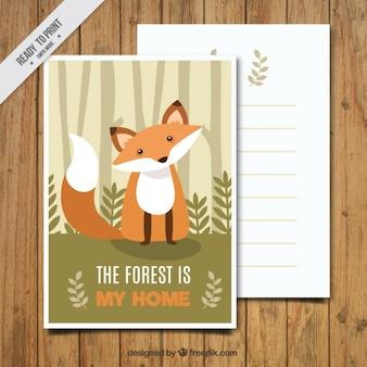 Fox cartão bonito do vintage com mensagem