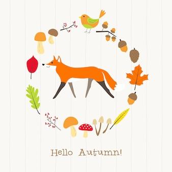 Fox com cartão de moldura de outono