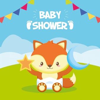 Fox com estrela e lua para cartão de chuveiro de bebê