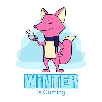 Fox de inverno mão ilustrações desenhadas