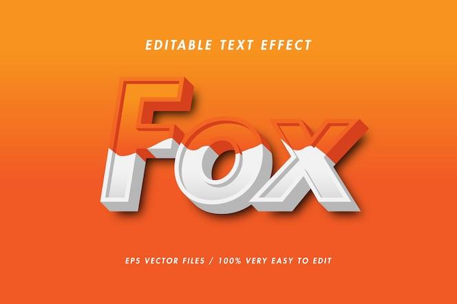 Fox - efeito de texto premium, texto editável