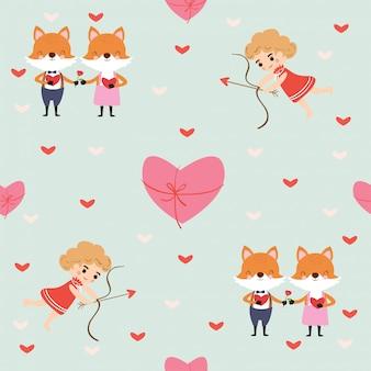 Fox em amor e cupido padrão sem emenda