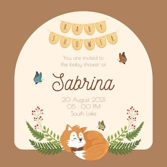 Fox frame grinalda convite para chá de bebê em cores quentes foresr woodland animal