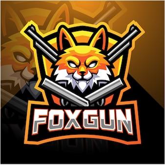 Fox gun esport mascote logotipo design