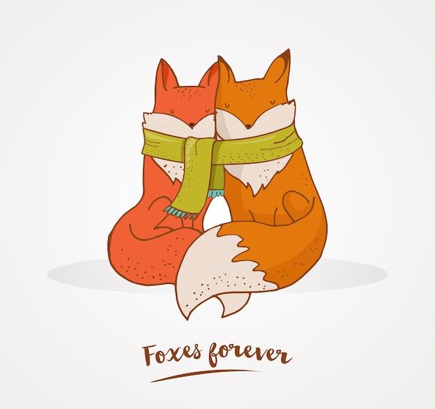 Fox, ilustração fofa e adorável e cartão de saudação, dia dos namorados