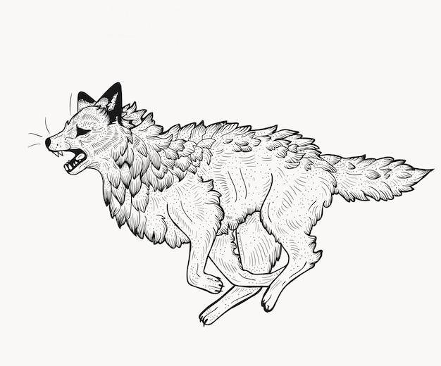 Fox isolado no estilo linogravura.